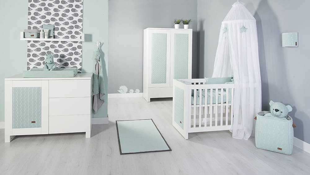 bedbumper cable baby blauw