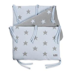 Bedbumper Star baby blauw/grijs