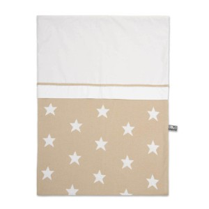 Dekbedovertrek Star beige/wit - 100x135