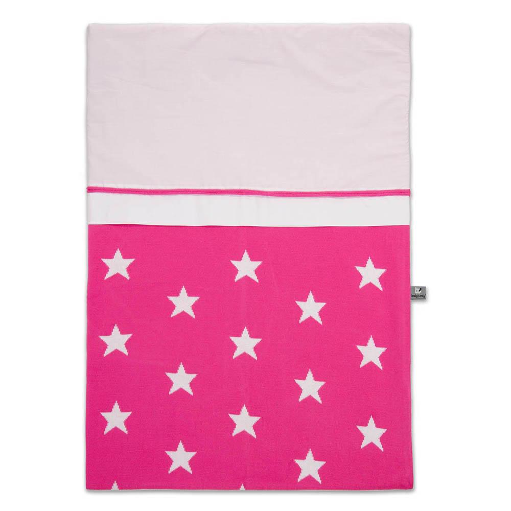 babys only 0910996 dekbedovertrek 100x135 cm star fuchsia wit
