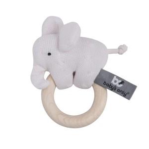 Houten rammelaar olifant classic roze