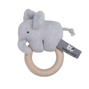Houten rammelaar olifant zilvergrijs