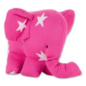 Knuffelolifant Star fuchsia/wit
