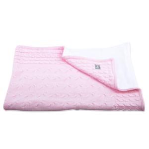 Ledikantdeken chenille Cable baby roze