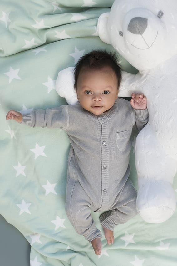 ledikantdeken teddy star baby blauwgrijs