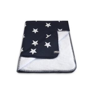 Wiegdeken teddy Star marine/wit